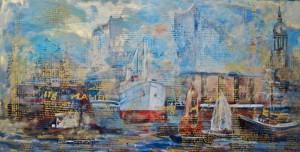 Katja Nordmeyer - Hafen Hamburg - UNIKAT LEINWAND 140x70cm